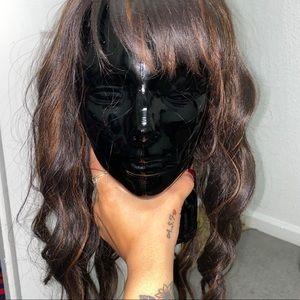 Brown highlights bangs wig 2020